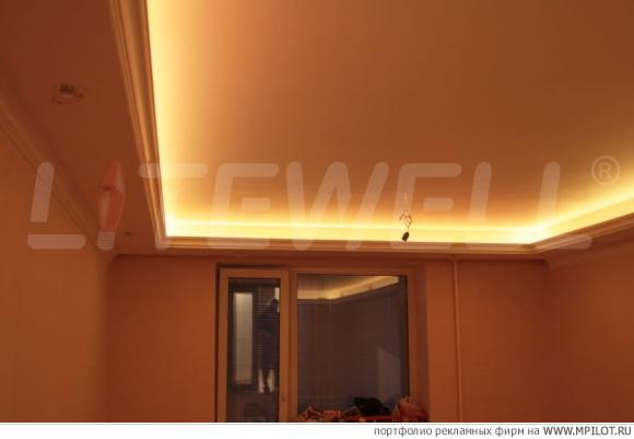 Светодиодная лента на потолке как сделать